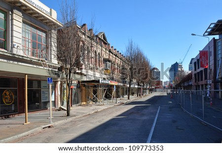 CHRISTCHURCH, NEW ZEALAND - SEPTEMBER, 3: Six months on from the devastating Christchurch Earthquake and High Street is still deserted on September 03, 2011 in Christchurch. - stock photo