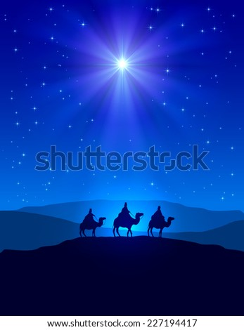 Christian Christmas night with shining star on blue sky and three wise men, illustration. - stock photo