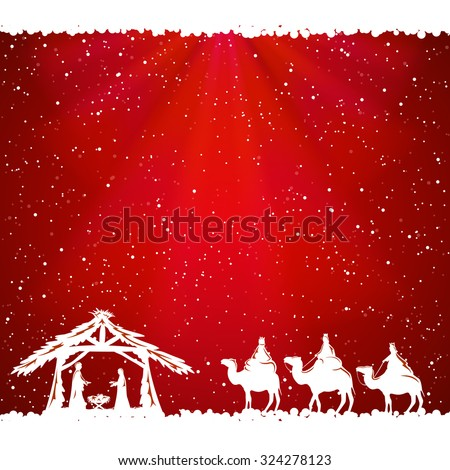 Christian Christmas scene on red background, illustration. - stock photo