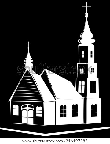 Christian church on black background - stock photo