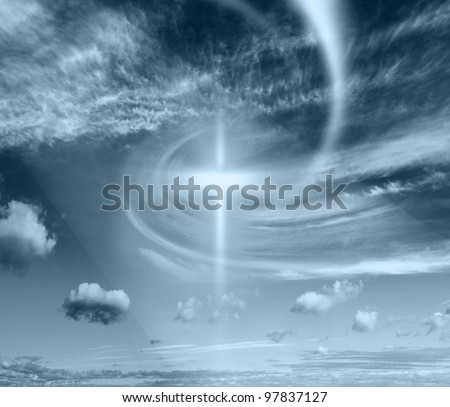 Christian cross against the sky - stock photo
