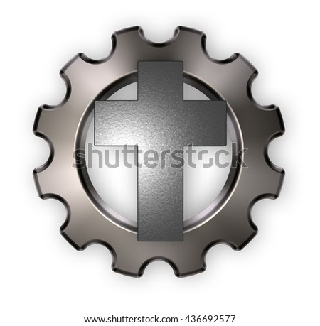 christian cross and gear wheel on white background - 3d rendering - stock photo