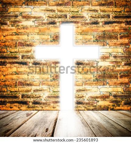 Christian cross of light background - stock photo