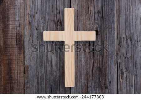 christian cross old wood wooden background christianity - stock photo