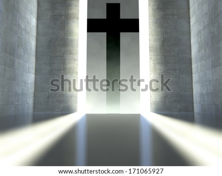 Christian cross on wall in modern interior, concept of faith - stock photo