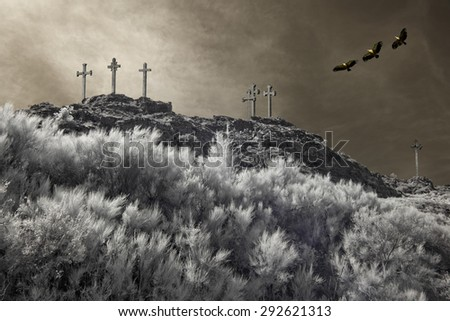 Christian crosses on the top of a mountain overflown by griffins. Used analog infrared filter and other digital filters.  - stock photo