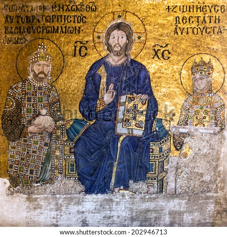 Christian Icon in Hagia Sophia in Istanbul, Turkey - greatest monument of Byzantine Culture. - stock photo