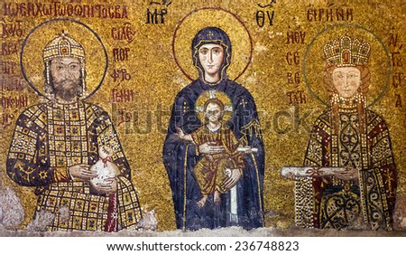 Christian Icon of Virgin Mary and Saints in Hagia Sophia in Istanbul, Turkey. - stock photo