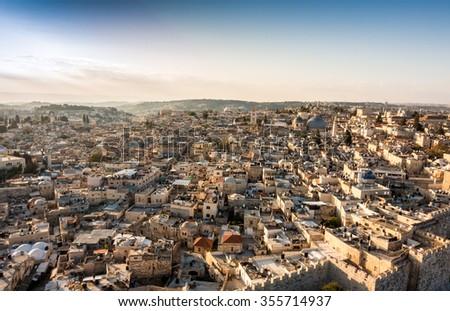Christian Quarter of Jerusalem at sunrise, Israel - stock photo