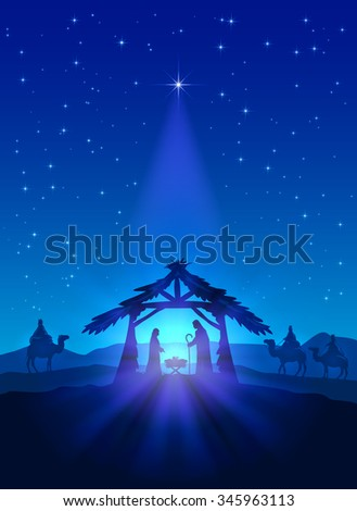 Christian theme, Christmas star on blue sky and birth of Jesus, illustration. - stock photo