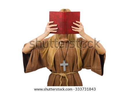 Christian woman isolated on the white - stock photo