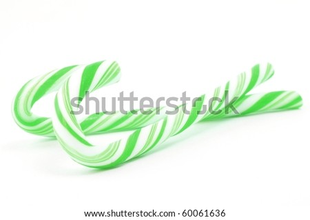Christimas candy canes isolated on a white background - stock photo