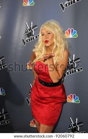 """Christina Aguilera at NBC's """"The Voice"""" Press Conference, LA Center Studios, Los Angeles, CA. 03-15-11 - stock photo"""