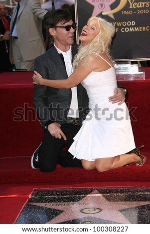 Christina Aguilera with Steven Antin  at Christina Aguilera's induction into the Hollywood Walk of Fame, Hollywood Blvd, Hollywood, CA. 11-15-10 - stock photo