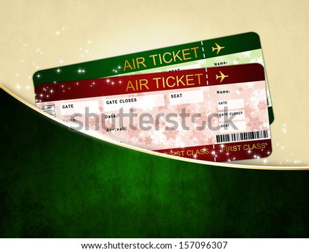 christmas airline boarding pass tickets in dark pocket - stock photo