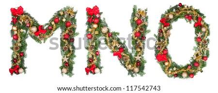 Christmas alphabet letters, isolated on white background - stock photo