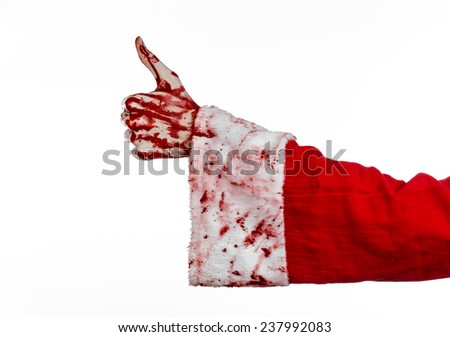Christmas and Halloween theme: Santa Zombie bloody hand on a white background - stock photo