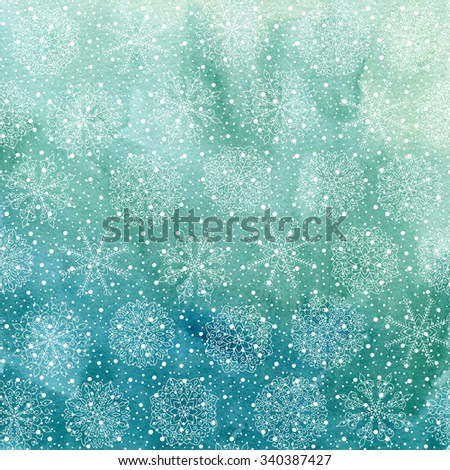 Christmas and Happy New Year background. Hand drawn turquoise blue watercolor abstract texture with snowflakes. Falling snow raster holiday backdrop for card. - stock photo