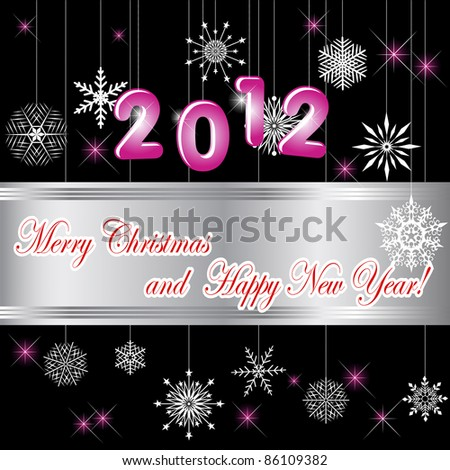 Christmas and new year card with banner and snowflakes. - stock photo