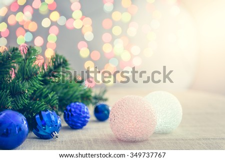 Christmas and New Year Decoration and background bokeh of twinkling party lights - stock photo