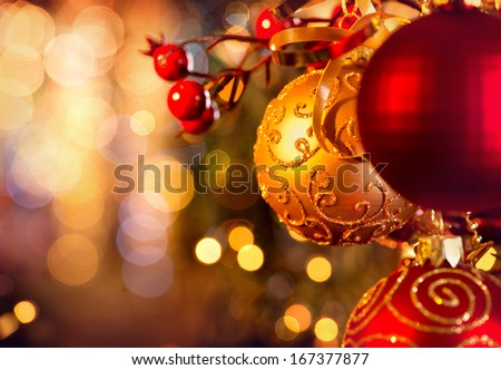 Christmas and New Year Decoration. Bauble hanging on Christmas Tree Shallow DOF  - stock photo
