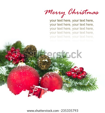 Christmas and New Year Decorations isolated on a white background.  - stock photo