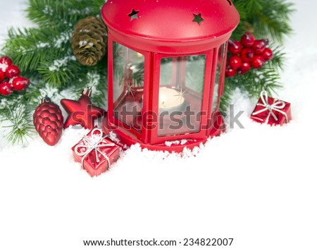 Christmas and New Year Decorations isolated on a white background. lantern light and tinsel  - stock photo