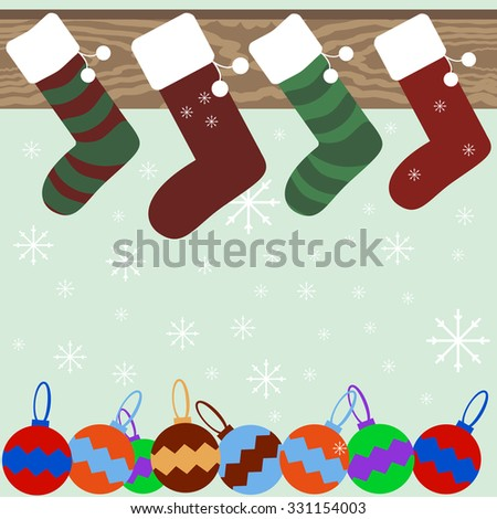 Christmas and New Year festive background of Christmas stockings hanging on mantel, snowflakes and varicolored Christmas balls - stock photo