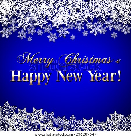 Christmas and New Year Greeting blue Background with snowflakes - stock photo