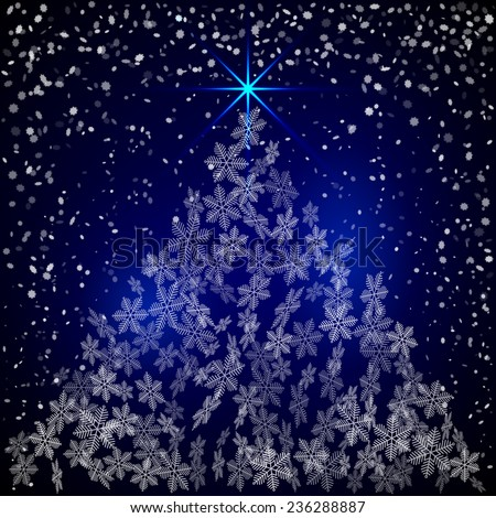 Christmas and New Year Greeting blue Background with snowflakes forming the tree - stock photo