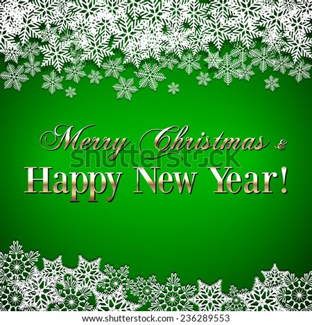 Christmas and New Year Greeting green Background with snowflakes - stock photo