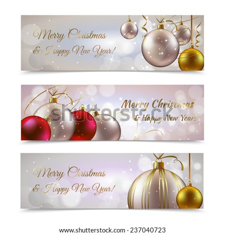 Christmas and new year horizontal banners set with decoration balls isolated  illustration - stock photo
