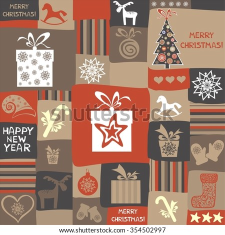 Christmas and New Year pattern. Celebration background with Christmas ball, Christmas tree, deer, star and gift box.  illustration - stock photo