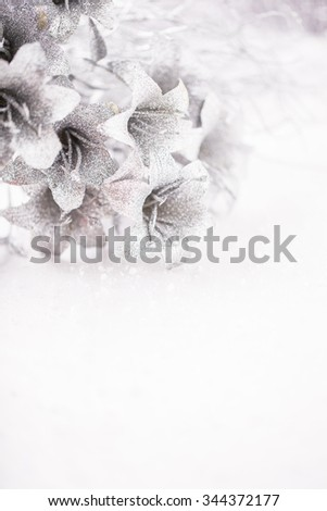 Christmas and New Year's silver flowers on snow background - stock photo
