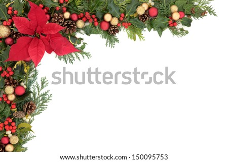 Christmas and winter floral border with poinsettia flower, decorations, natural holly, mistletoe and ivy,  over white background. - stock photo