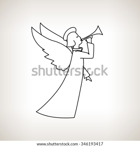 Christmas Angel on a  Light Background, Christmas Decorations,  Drawing in Linear Style , Black and White  Illustration - stock photo