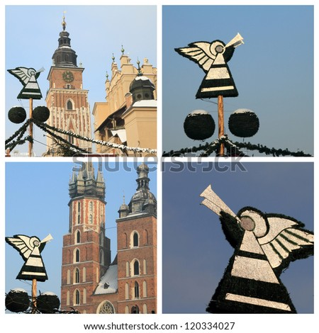 christmas angels on Main Square ( called Rynek ) in Krakow, Poland - stock photo