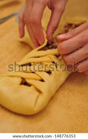 Christmas apple pie. Cake recipe, cooking process. - stock photo