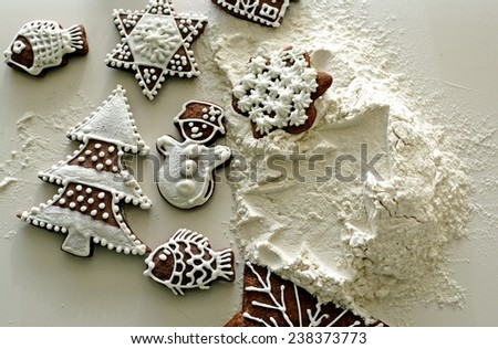 Christmas  atmosphere and ginger breads - stock photo