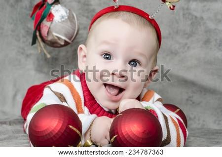 Christmas baby in santa hat - stock photo