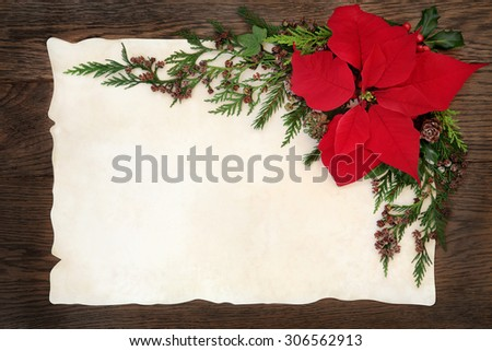 Christmas background border with poinsettia flower holly, ivy and fir on parchment paper over old oak wood. - stock photo