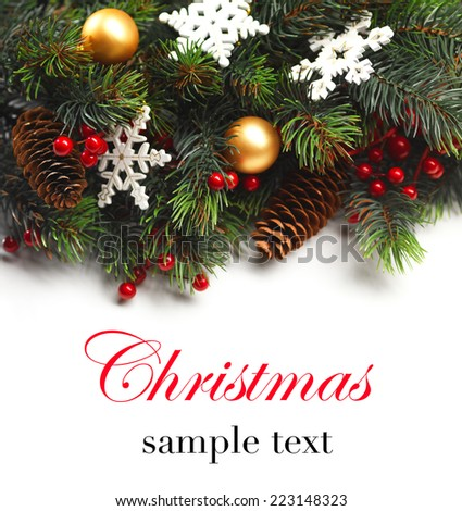 Christmas background. Christmas boarder with fir tree branch with cones and ornament. Christmas baubles in golden and red colour. Close up with copy space  and sample text. Winter holidays concept.  - stock photo