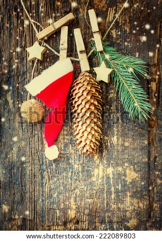 christmas  background/ Christmas card with christmas natural decorations in vintage style - stock photo