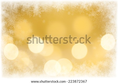 Christmas background, defocused Christmas lights and snowflake border with copy space.  - stock photo