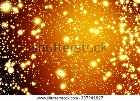 Christmas background. Elegant yellow abstract background with bokeh defocused lights, stars and  snowflakes.  - stock photo