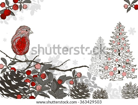 Christmas background for xmas design with winter bird and Christmas tree. Raster version  - stock photo