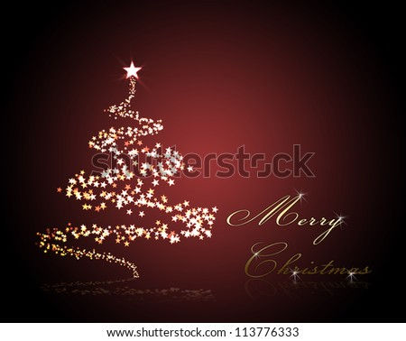 christmas background for your designs with a christmas tree an Merry Christmas Text - stock photo