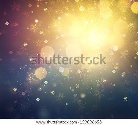 Christmas Background. Golden Holiday Abstract Defocused Background With Snowflakes and Stars. Blurred Bokeh - stock photo