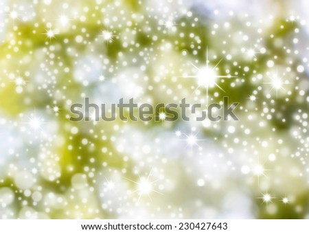 Christmas Background. Green Holiday Abstract Glitter Defocused Background With Blinking Stars. Blurred Bokeh - stock photo