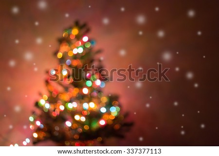 christmas background, image blur bokeh defocused lights decoration on christmas tree - stock photo